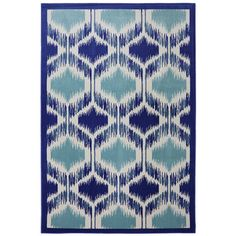 """@Overstock.com - Indoor/Outdoor Illuminated Blue Rug (5'3 x 7'10"""") - Bring the look of your patio area together with this modern blue rug, Made of durable polypropylene, this versatile area rug is stain and fade resistant and is suitable for indoor or outdoor use. This contemporary rug features an Ikat-inspired pattern.  http://www.overstock.com/Home-Garden/Indoor-Outdoor-Illuminated-Blue-Rug-53-x-710/7997014/product.html?CID=214117 $129.99"""