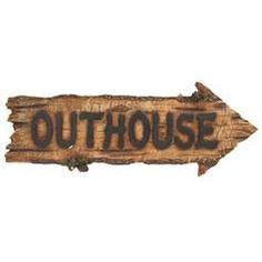 "Hobby Lobby  Outhouse Plaque  sku# 389189  Price: $14.99  Description  Show your sense of humor with this Outhouse Plaque. It would look great in any western-themed home, office or man cave. It measures about 15 1/2"" wide x 6"" tall and has hanging hardware attached to the back.    Color	Polyresin  Size	15 1/2"" x 6"""