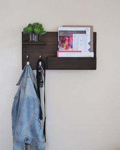 midnight woodworks original entryway organizer coat rack wall mounted with mail storage and floating shelf entryway organizer key hooks