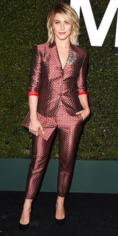 JULIANNE HOUGH in a Michael Kors suit at the launch of Claiborne Swanson Frank's Young Hollywood