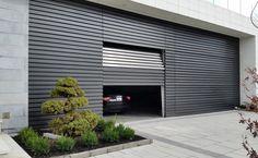 Horizontal Walnut Combine both garage doors into one wood pa… – Door Ideas Sliding Garage Doors, Modern Garage Doors, Garage Loft, Steel Garage, Underground Garage, Car Barn, Roller Doors, Garage Door Design, Custom Garages