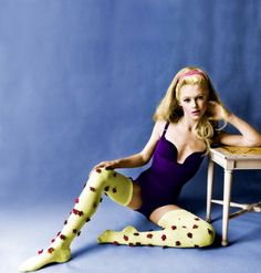 Edie Sedgwick in a bodysuit by Venus and flower studded stockings by Givenchy
