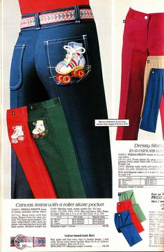 Sears 1981 - jeans with roller skates on the pocket. I think they had a matching satin jacket! I thought I was a big shot skating in these! Roller Derby, Disco Roller Skating, Roller Rink, Roller Disco, My Childhood Memories, Sweet Memories, 70s Fashion, Vintage Fashion, 80s Jeans