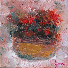 Sumi Cat: Red Flowers in Copper