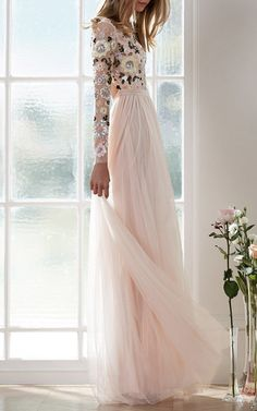 The Prettiest Tea Dress with Embroidered Flowers, Lace and Pastel Tulle