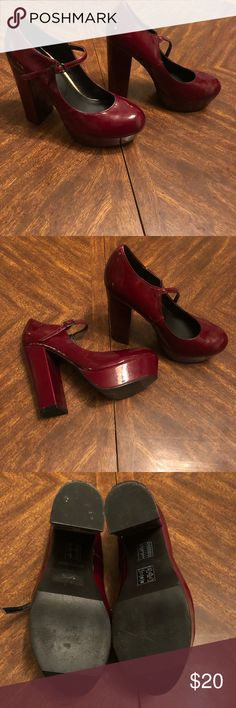Size 8 Burgundy Mary Jane Heels. NWOT only worn by my daughter around the house for 10 minutes. Bought them but never got a outfit to wear them with. Forever 21 Shoes Heels
