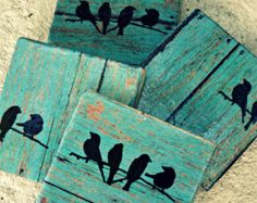 Rustic Coasters--Teal Wood Tile with Birds.set of 4 employee gift coworker gift Christmas gift wedding gift present USD) by Kitchcessories Pallet Crafts, Pallet Art, Wood Crafts, Rustic Coasters, Deco Champetre, Decoration Vitrine, Wood Pallets, Wood Art, Wood Plank Art