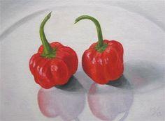 """Two Peppadews"" - Original Fine Art for Sale - © Pera Schillings"