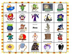 A halloween party game for kids and adults which is a variation of traditional bingo game.