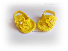 Yellow flip flops Baby Flip Flops Crochet Baby Sandals