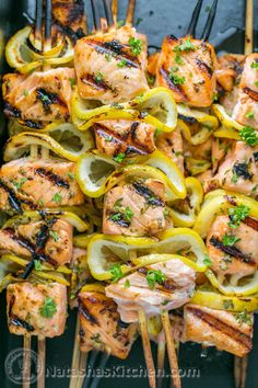Easy grilled salmon skewers with garlic & dijon. Juicy with incredible flavor & takes less than 30 minutes ~ KEEPER! Skewer Recipes, Fish Recipes, Seafood Recipes, Grilled Salmon Recipes, Grilled Shrimp, Grilled Meat, Egg Recipes, Grilled Chicken, Asian Recipes