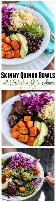 Skinny quinoa bowls that are packed with veggies, whole foods, healthy fats & my favorite pistachio kale sauce. Eat meals like this and you'll be satisfied and full of energy! I make this in large bat (21 Day Fix Gluten Free Recipes)
