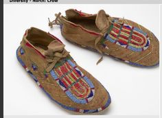 Crow moccasins with quill wrapped horsehair.  Bata Shoe Mus