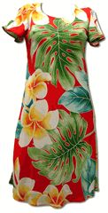 "Plumeria Beauty Women's Hawaiian Paradise Found Sleeves, Flared, Slip Over the Head, Short Tank Dress created in Black, Jade and Red. This Short Tank Dress, Style 165, with the CAP SLEEVE is an ""A-Frame"" dress style. MauiShirts search box stock number: MS165-315"