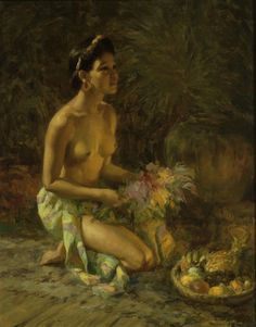 Fernando Amorsolo Y Cueto (1892-1972) Young Woman with Fruits and Flowers, oil on canvas, framed