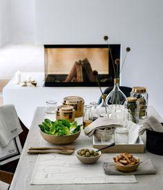 H&M - Wooden Salad Bowls - Gold Rimmed Vases - Glass Jars