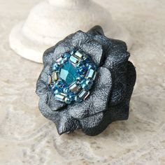 Gala  Ruffles Leather Flower Ring in Black Pearl and ❤ by Viridian