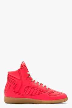 MAISON MARTIN MARGIELA Coral Leather High-TOP SNEAKERS