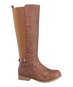 Loving this Tan Buckle Land Stretch-Back Boot on #zulily! #zulilyfinds $16.99 was $48.00