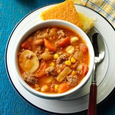 I love to experiment with many different types of recipes. But as a mother of young children, I rely on family-friendly ones more and more. Everyone enjoys this stew. —Kim Balstad, Lewisville, Texas Beef Lentil Soup, Beef Noodle Soup, Beef And Noodles, Chili Soup, Taco Soup, Stuffed Pepper Soup, Stuffed Peppers, Hearty Soup Recipes, Chili Recipes