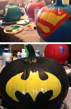 Halloween or not: Superhero Painted Pumpkins Theme Halloween, Holidays Halloween, Halloween Pumpkins, Halloween Crafts, Holiday Crafts, Holiday Fun, Happy Halloween, Halloween Decorations, Superhero Halloween