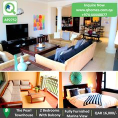 Townhouse for Rent the Pearl: Fully Furnished 2 bedrooms Townhouse with balcony and marina view in Porto Arabia at QAR 16,000/-