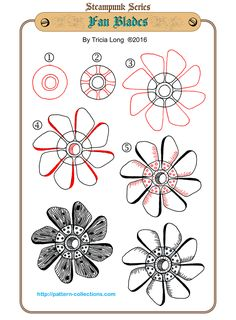 Fan Blades - Step by Step Zentangle Pattern (Steampunk) by Tricia Long Zentangle Drawings, Doodles Zentangles, Doodle Drawings, Doodle Art, Zen Doodle, Tangle Doodle, Tangle Art, Doodle Patterns, Zentangle Patterns