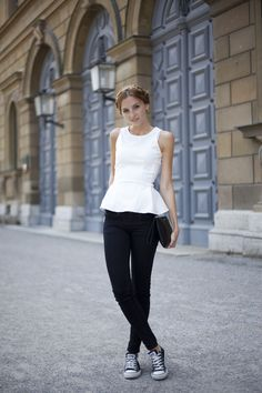 Fashion Mugging is wearing a white peplum top. Click for more photos // via bestfashionbloggers.com