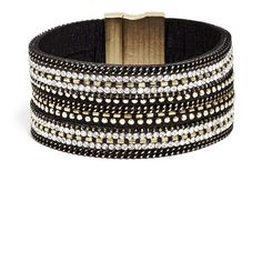 GUESS Alicia Triple-Row Felt Cuff ($21) ❤ liked on Polyvore featuring jewelry, bracelets, beaded jewelry, cuff jewelry, cuff bangle, guess jewellery and felt jewelry