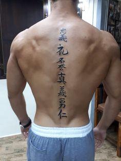 7 virtues of Bushido, 7 wege des Kriegers. Bamboo Tattoo, New Age tattoo Koh Lanta #japanesetattoo #bambootattoo #bushido #samuraitattoo #letter