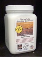 Charles Neil's Pre-Color Conditioner - Blotch Control  An excellent product for controlling the blotching of dyes and stains on blotch prone woods such as pine, cherry, birch, poplar and aspen to name a few.  Great for solid wood/plywood combinations.  Also prevents darkening of crotch and end grain.