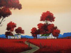 Nic van Rensburg (#3276) | Art On Wheels Abstract Landscape Painting, Abstract Canvas, Landscape Art, Landscape Paintings, Canvas Wall Art, Farm Paintings, Canvas Paintings, South African Artists, Whimsical Art