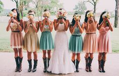 Pastel multicolor dresses, cowgirl boots