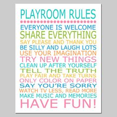 Playroom Rules - 8x10 Quote Print - Modern Nursery Childrens Decor - Kids Wall Art - Choose Your Colors via Etsy