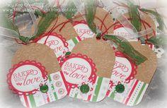 Set of 6 Handmade Baked with Love Christmas Tags