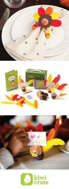 Get crafty with your kids with our Turkey Place Cards and Turkey Napkin Rings. Decorating and setting the Thanksgiving dinner table has never been so fun!