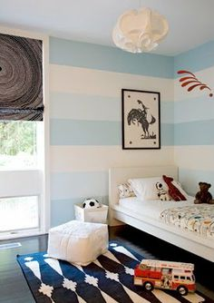 love the different colored stripes- would love to do this in mason's room- maybe greys or orange?