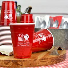 Order personalized 16 ounce size plastic Solo cups personalized with choice of design and up to 4 lines of custom print as useful and fun cups for your wedding reception or party. This classic cups can be reused or thrown away. Solo Cup, Wedding Cups, Outdoor Wedding Reception, Personalized Cups, Fun Cup, Plastic Cups, Tableware, Creative, Classic