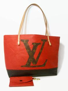Louis Vuitton and Leather Tote! Made w  authentic upcycled LV Monogram  Canvas! lined dea5aa43fa104
