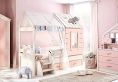 Pink Houses, Baby Room, Beautiful Homes, Toddler Bed, Loft, Furniture, Home Decor, Tinkerbell, Kids Rooms