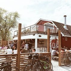 Oast House Brewer's patio located in Niagara-on-the-Lake Large Screen Tvs, Brewery, Ontario, Cabin, House Styles, Cabins, Cottage, Wooden Houses