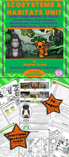 Students love animals, making ecosystems and habitats an exciting topic to teach! EVERYTHING you need to teach a science unit on ecosystems and habitats can be found here! This 2 week, 76 page ecosystems and habitats unit includes 8 S.T.E.M. Based Science Lessons on Everything Ecosystems & Habitats and everything needed to implement those lessons!