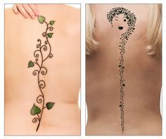 Collage of a vine tattoo and a butterfly tattoo