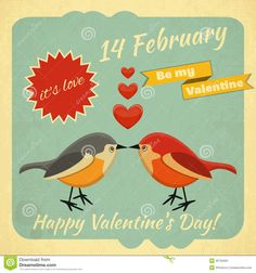 Illustration about Retro Design of Valentines Card with two Cartoon Birds and Hearts on in Retro Style. Illustration of retro, love, border - 35794591 Vintage Valentine Cards, Valentine Day Cards, Happy Valentines Day, Vintage Birds, Vintage Images, Valentine Picture, Valentine Pics, Cartoon Birds, Bird Drawings