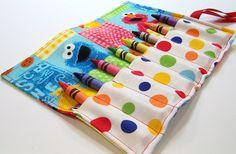 Crayon Roll - Sesame Street Dots Crayon Roll Up. $6,00, via Etsy.