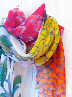 hand painted silk scarf, beautiful