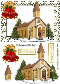 CHURCH IN THE SNOW WITH BELLS IN STAR FRAME on Craftsuprint designed by Nick Bowley - CHURCH IN THE SNOW WITH BELLS IN STAR FRAME, Makes a pretty christmas card, CUP567389_415 Matching insert - Now available for download!