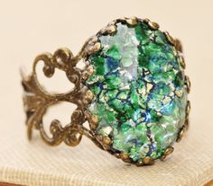 Vintage Emerald Fire Opal RingRARE Green Fire by hangingbyathread1