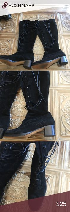 """Black suede lace up Boots Size 9 fits  8.5 best Italian made lace up Suede boots. Sorry they were too small for me so I could take photo with them on. They are very high quality. Two inch heel, shaft measures  16"""" tall, sole measures 10 1/2"""" in bottom toe to heel, measures 3"""" across ball of foot area. Laces are made of leather circumference of leg is 15"""" at smallest but that would be laced at tightest. They could be laced much looser. They would not be for a wide foot. Best for regular or…"""