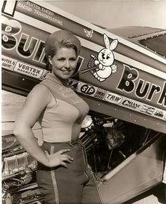 """Carol """"Bunny"""" Burkett And Her Funny Car. Burkett is one of the pioneering…"""